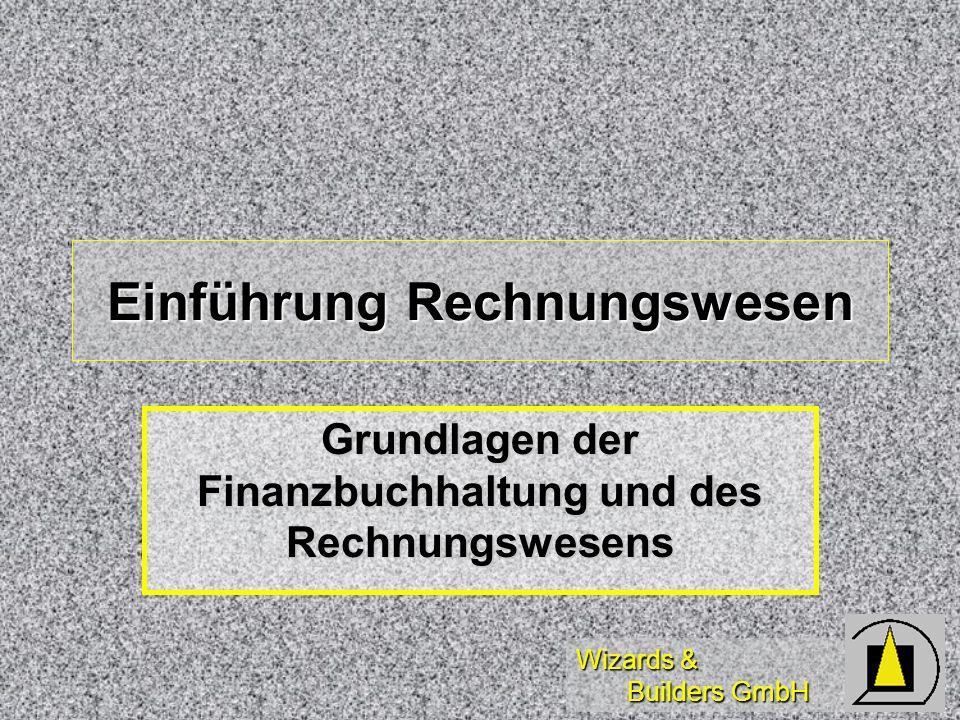 Wizards & Builders GmbH Buchungssätze Soll an Haben Soll an HabenBeispiele: TR: Bank an Kasse TR: Bank an Kasse TR: Kasse an Bank TR: Kasse an Bank ZE: Bank an Forderung ZE: Bank an Forderung ZA: Vblk an Bank ZA: Vblk an Bank