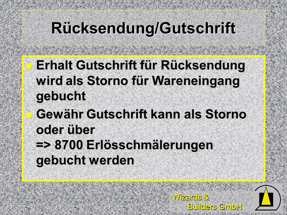 Wizards & Builders GmbH Rücksendung/Gutschrift Erhalt Gutschrift für Rücksendung wird als Storno für Wareneingang gebucht Erhalt Gutschrift für Rückse