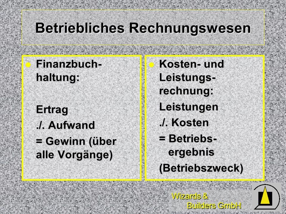 Wizards & Builders GmbH Betriebliches Rechnungswesen Finanzbuch- haltung: Finanzbuch- haltung:Ertrag./. Aufwand = Gewinn (über alle Vorgänge) Kosten-