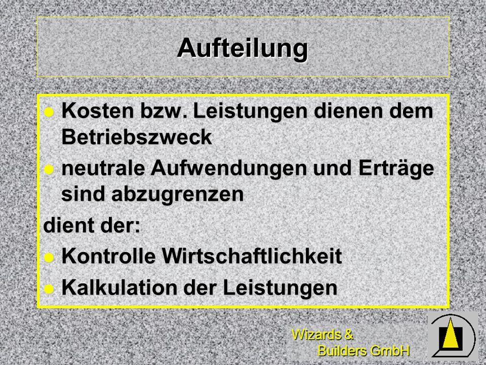 Wizards & Builders GmbH Aufteilung Kosten bzw. Leistungen dienen dem Betriebszweck Kosten bzw. Leistungen dienen dem Betriebszweck neutrale Aufwendung