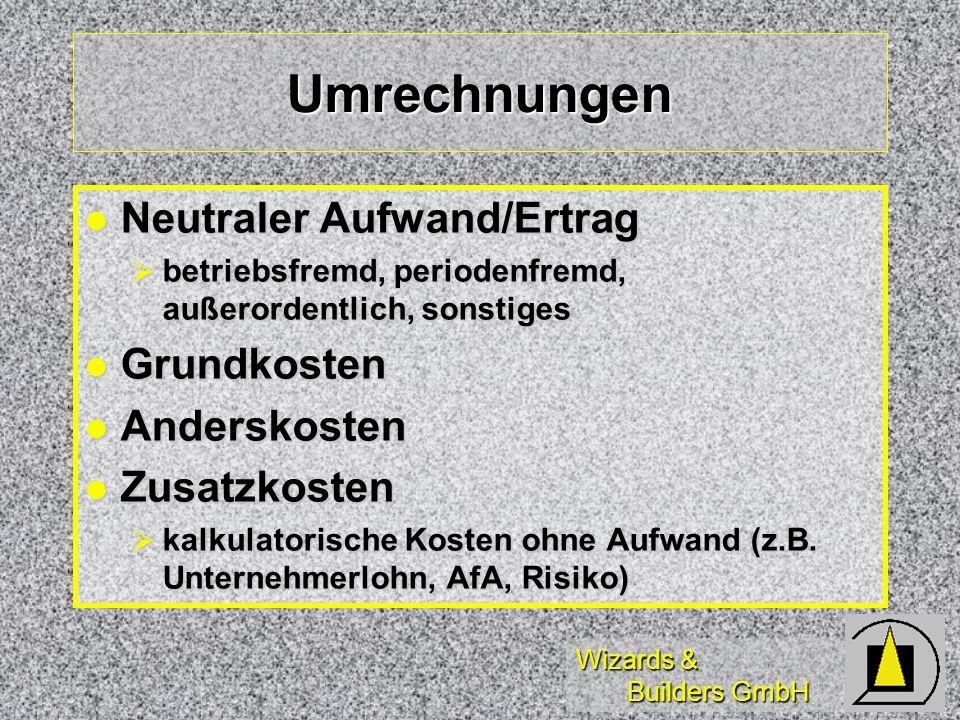 Wizards & Builders GmbH Umrechnungen Neutraler Aufwand/Ertrag Neutraler Aufwand/Ertrag betriebsfremd, periodenfremd, außerordentlich, sonstiges betrie