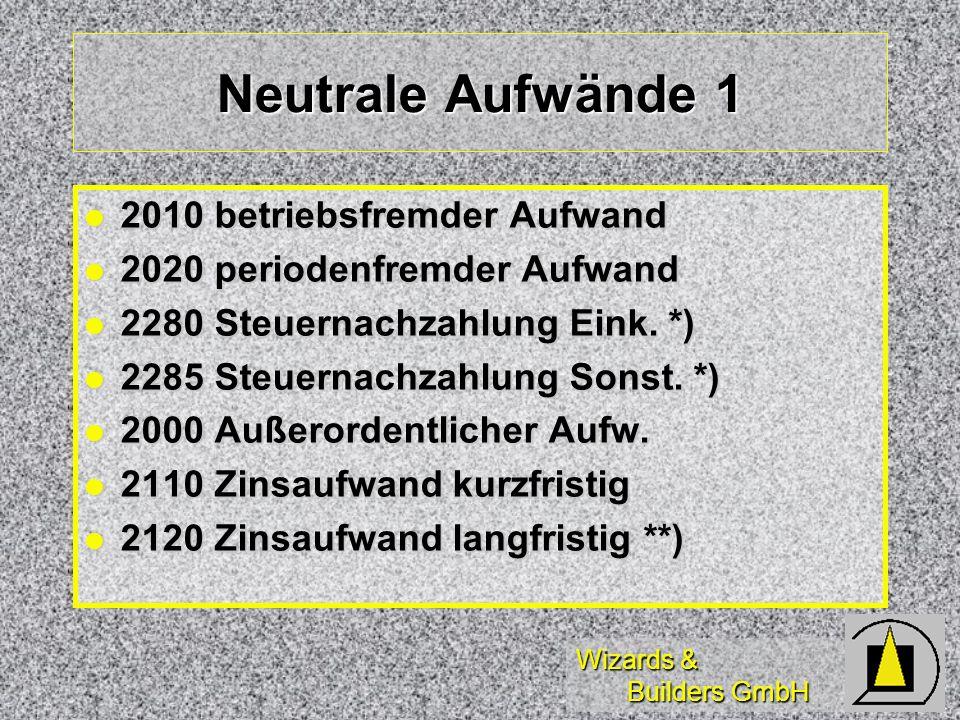 Wizards & Builders GmbH Neutrale Aufwände 1 2010 betriebsfremder Aufwand 2010 betriebsfremder Aufwand 2020 periodenfremder Aufwand 2020 periodenfremde