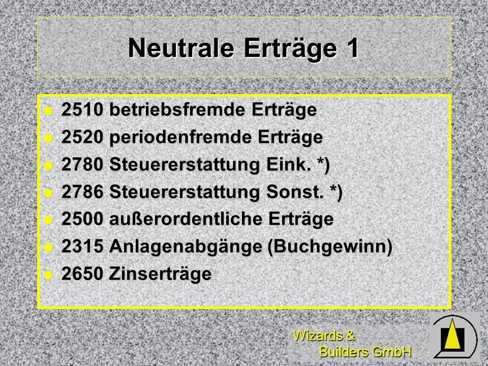 Wizards & Builders GmbH Neutrale Erträge 1 2510 betriebsfremde Erträge 2510 betriebsfremde Erträge 2520 periodenfremde Erträge 2520 periodenfremde Ert