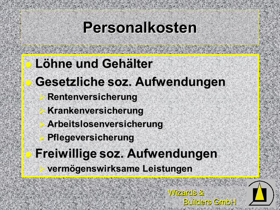 Wizards & Builders GmbH Personalkosten Löhne und Gehälter Löhne und Gehälter Gesetzliche soz. Aufwendungen Gesetzliche soz. Aufwendungen Rentenversich