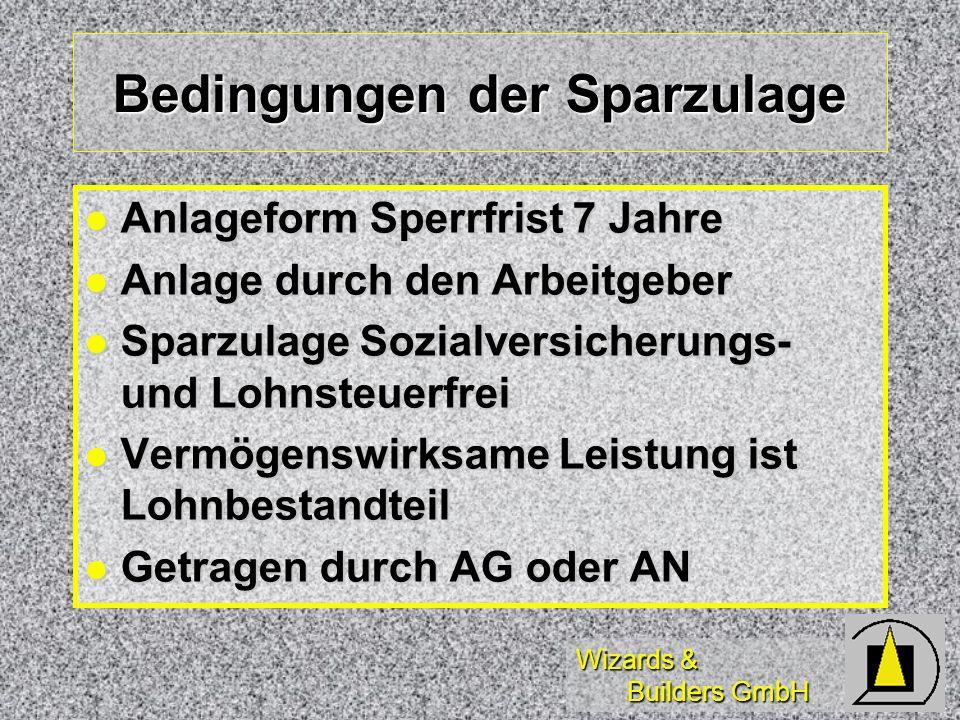 Wizards & Builders GmbH Bedingungen der Sparzulage Anlageform Sperrfrist 7 Jahre Anlageform Sperrfrist 7 Jahre Anlage durch den Arbeitgeber Anlage dur