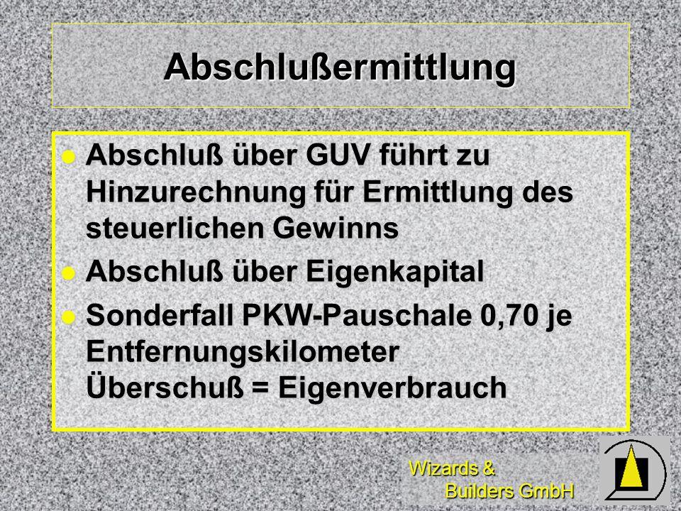 Wizards & Builders GmbH Abschlußermittlung Abschluß über GUV führt zu Hinzurechnung für Ermittlung des steuerlichen Gewinns Abschluß über GUV führt zu