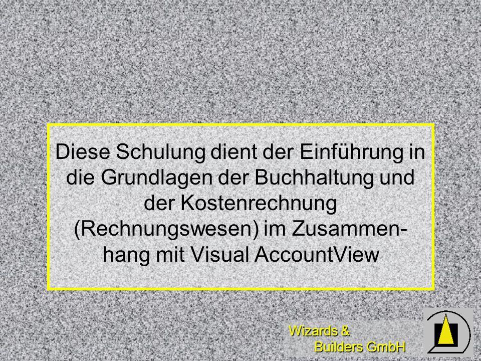 Wizards & Builders GmbH Komplexer Belegaufbau Belegnummer Belegnummer Belegposition Belegposition Belegdatum Belegdatum Buchungstext Buchungstext Konto Konto Soll/Haben Soll/Haben Buchungsbetrag Buchungsbetrag Steuerschlüssel Steuerschlüssel 10001 10001 1 12.3.1999 12.3.1999 Barabhebung Barabhebung 1000Kasse 1000Kasse S 1000,-DM 1000,-DM -- --