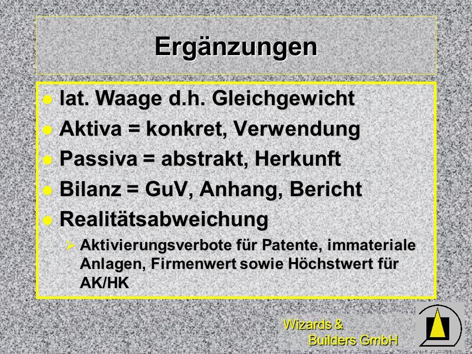 Wizards & Builders GmbH Ergänzungen lat. Waage d.h. Gleichgewicht lat. Waage d.h. Gleichgewicht Aktiva = konkret, Verwendung Aktiva = konkret, Verwend