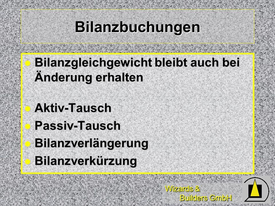 Wizards & Builders GmbH Bilanzbuchungen Bilanzgleichgewicht bleibt auch bei Änderung erhalten Bilanzgleichgewicht bleibt auch bei Änderung erhalten Ak