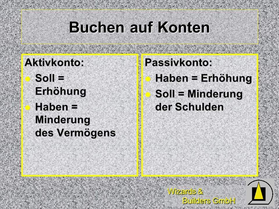 Wizards & Builders GmbH Buchen auf Konten Aktivkonto: Soll = Erhöhung Soll = Erhöhung Haben = Minderung des Vermögens Haben = Minderung des VermögensP