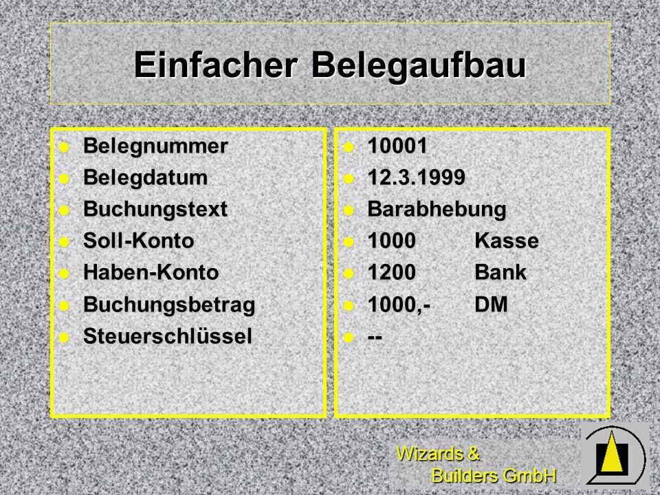 Wizards & Builders GmbH Einfacher Belegaufbau Belegnummer Belegnummer Belegdatum Belegdatum Buchungstext Buchungstext Soll-Konto Soll-Konto Haben-Kont