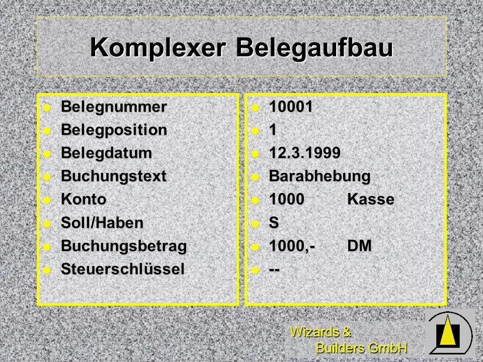 Wizards & Builders GmbH Komplexer Belegaufbau Belegnummer Belegnummer Belegposition Belegposition Belegdatum Belegdatum Buchungstext Buchungstext Kont