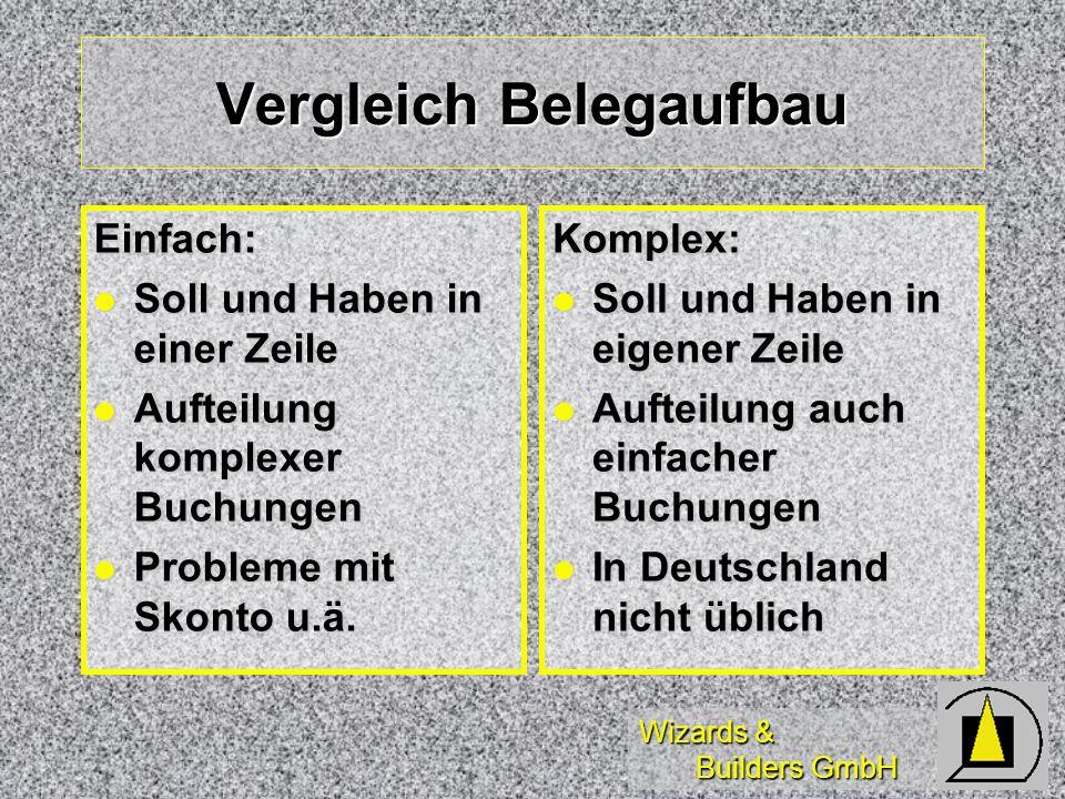 Wizards & Builders GmbH Vergleich Belegaufbau Einfach: Soll und Haben in einer Zeile Soll und Haben in einer Zeile Aufteilung komplexer Buchungen Auft