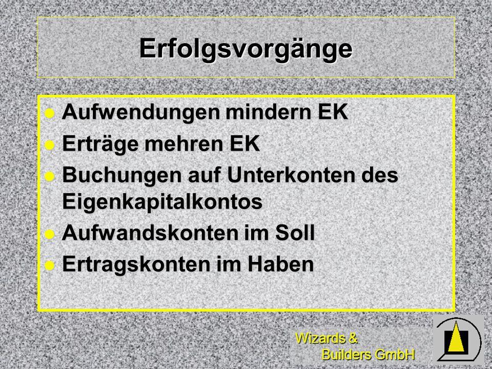 Wizards & Builders GmbH Erfolgsvorgänge Aufwendungen mindern EK Aufwendungen mindern EK Erträge mehren EK Erträge mehren EK Buchungen auf Unterkonten