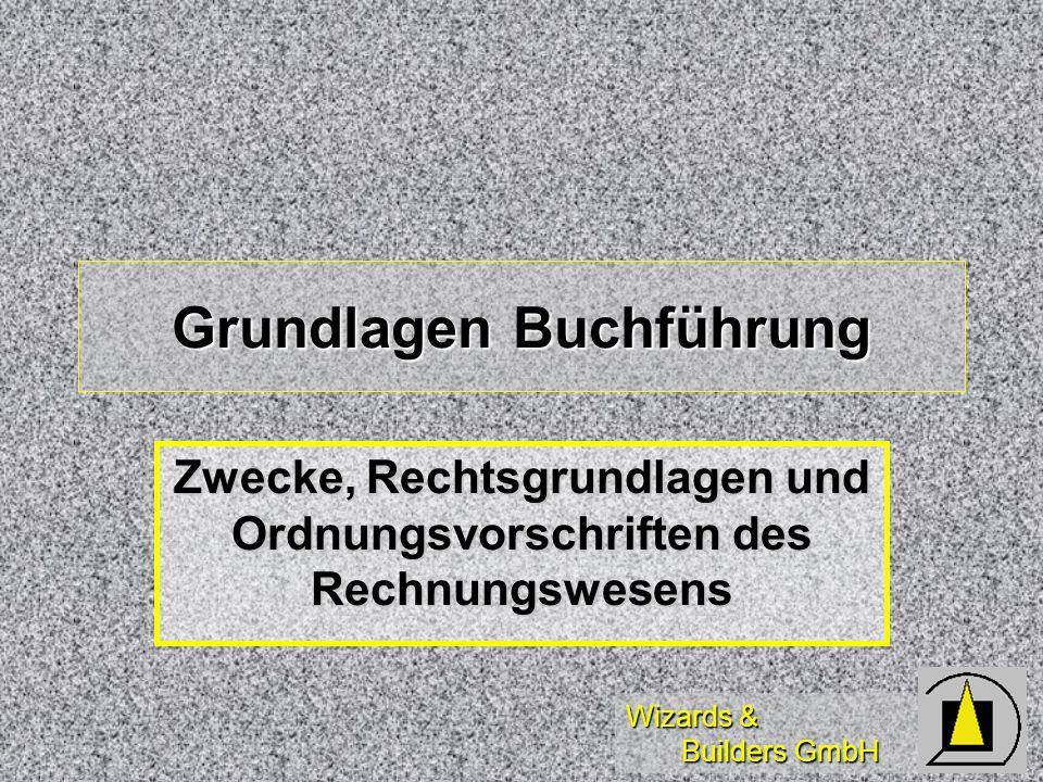 Wizards & Builders GmbH Zwecke der Buchführung Selbstinformation Selbstinformation Rechenschaftslegung Rechenschaftslegung Kapitalverwalter an Kapitalgeber Kapitalverwalter an Kapitalgeber Besteuerungsgrundlagen Besteuerungsgrundlagen Gläubigerschutz Gläubigerschutz direkt und indirekt (Eigenbeurteilung) direkt und indirekt (Eigenbeurteilung) Beweismittel (HGB 258.1) Beweismittel (HGB 258.1)