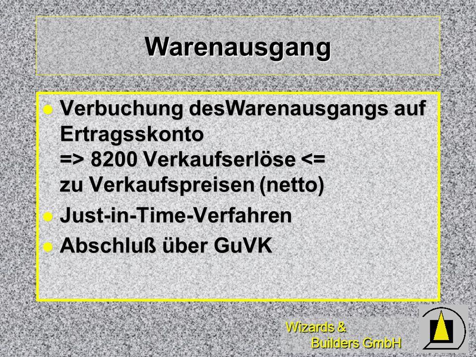Wizards & Builders GmbH Warenausgang Verbuchung desWarenausgangs auf Ertragsskonto => 8200 Verkaufserlöse 8200 Verkaufserlöse <= zu Verkaufspreisen (n