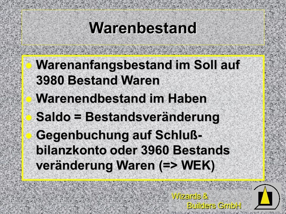Wizards & Builders GmbH Warenbestand Warenanfangsbestand im Soll auf 3980 Bestand Waren Warenanfangsbestand im Soll auf 3980 Bestand Waren Warenendbes