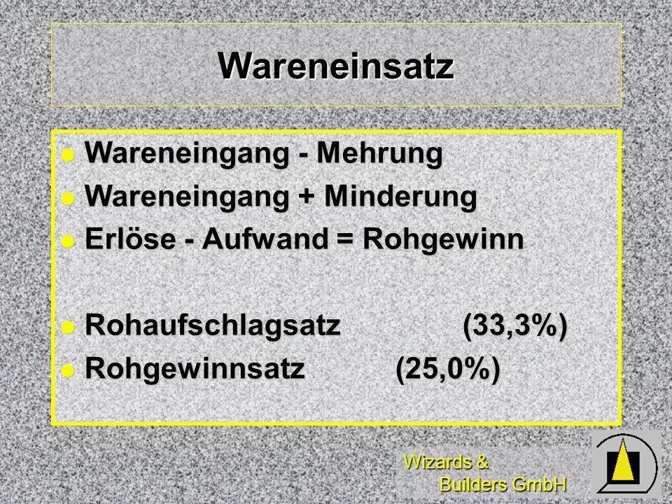 Wizards & Builders GmbH Wareneinsatz Wareneingang - Mehrung Wareneingang - Mehrung Wareneingang + Minderung Wareneingang + Minderung Erlöse - Aufwand