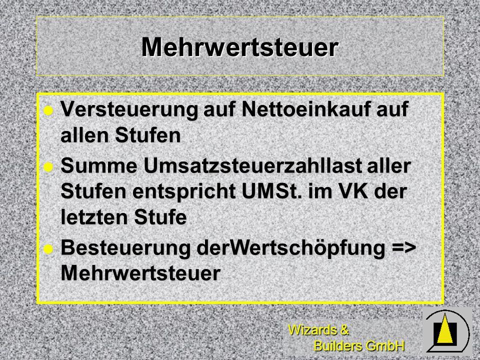Wizards & Builders GmbH Mehrwertsteuer Versteuerung auf Nettoeinkauf auf allen Stufen Versteuerung auf Nettoeinkauf auf allen Stufen Summe Umsatzsteue