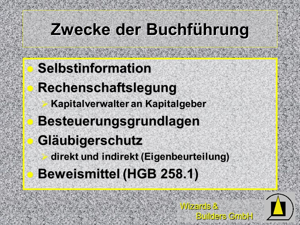 Wizards & Builders GmbH Rechtsgrundlagen HGB = Handelsgesetzbuch sowie GmbHG, AktG, PublG HGB = Handelsgesetzbuch sowie GmbHG, AktG, PublG AO = Abgabenordnung AO = Abgabenordnung EStG = Einkommenssteuergesetz EStG = Einkommenssteuergesetz Ordnungsvorschriften aus HGB sowie mehrheitlich aus AO Ordnungsvorschriften aus HGB sowie mehrheitlich aus AO