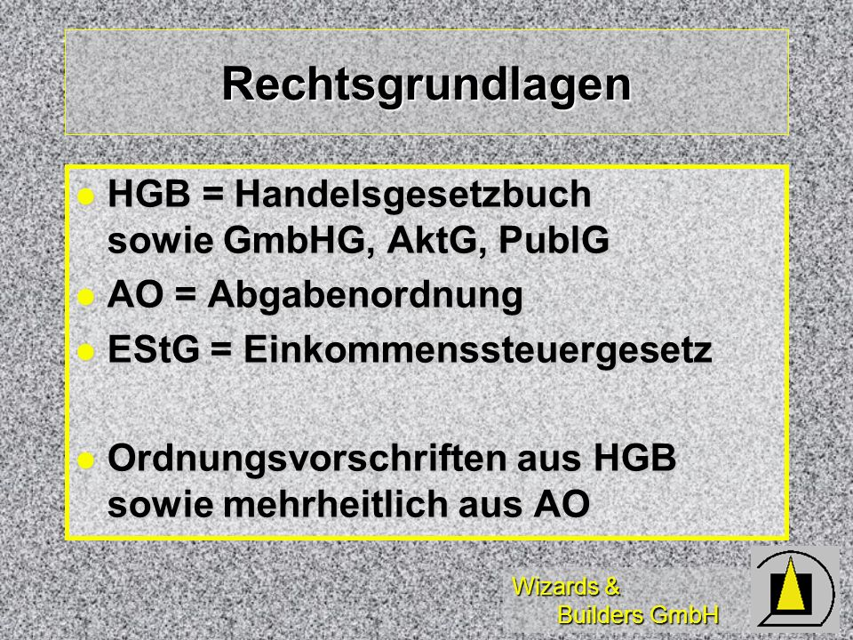 Wizards & Builders GmbH Inventargliederung Gliederung nach Fristigkeit Gliederung nach Fristigkeit Anlagevermögen (permanent) Anlagevermögen (permanent) Umlaufvermögen (temporär) Umlaufvermögen (temporär) langfristige Schulden langfristige Schulden kurzfristige Schulden (90 Tage) kurzfristige Schulden (90 Tage) Aufbewahrungsfrist 10 Jahre Aufbewahrungsfrist 10 Jahre