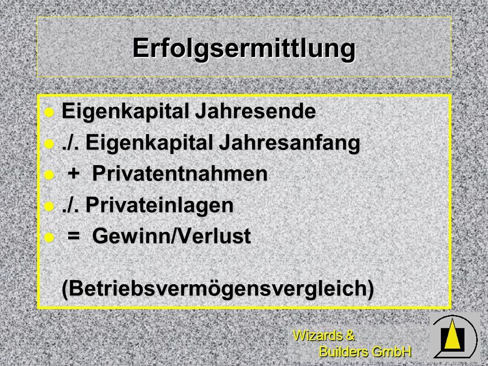 Wizards & Builders GmbH Erfolgsermittlung Eigenkapital Jahresende Eigenkapital Jahresende./. Eigenkapital Jahresanfang./. Eigenkapital Jahresanfang +