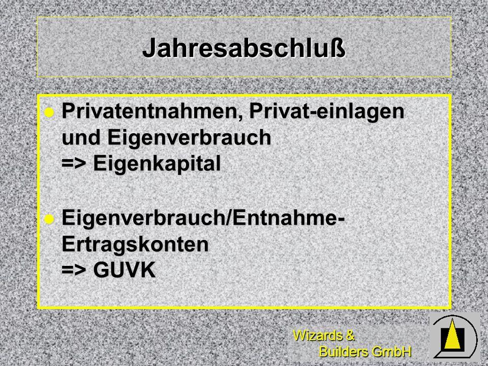 Wizards & Builders GmbH Jahresabschluß Privatentnahmen, Privat-einlagen und Eigenverbrauch => Eigenkapital Privatentnahmen, Privat-einlagen und Eigenv