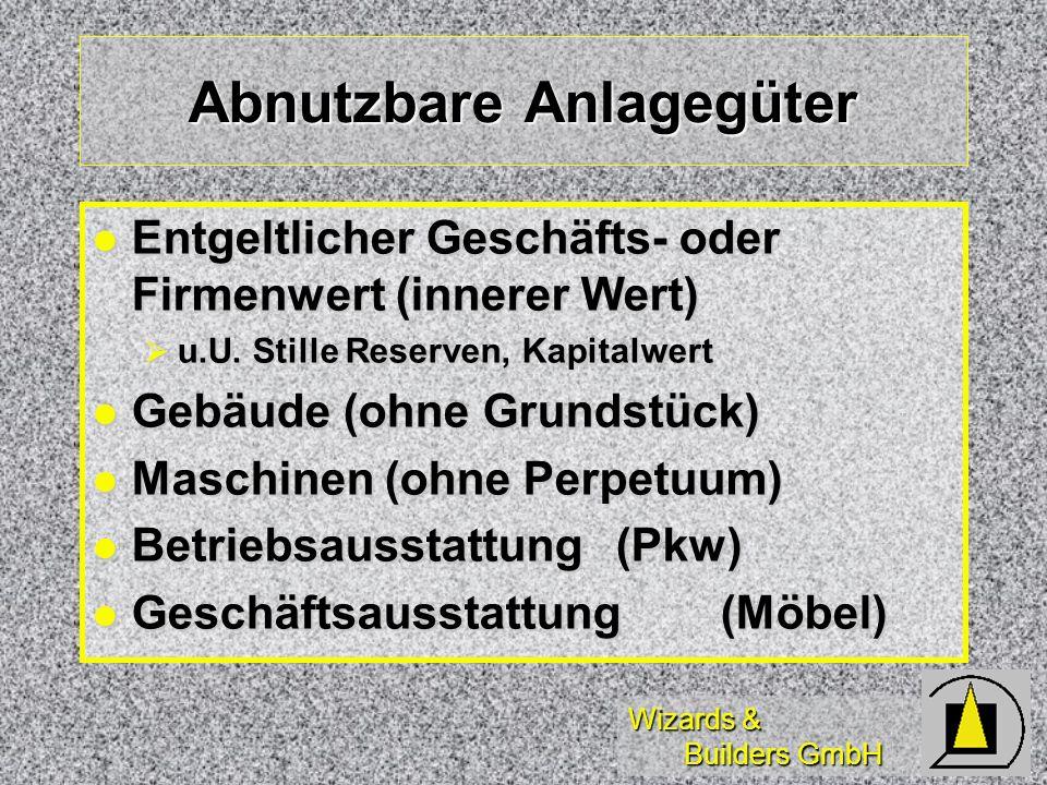 Wizards & Builders GmbH Abnutzbare Anlagegüter Entgeltlicher Geschäfts- oder Firmenwert (innerer Wert) Entgeltlicher Geschäfts- oder Firmenwert (inner