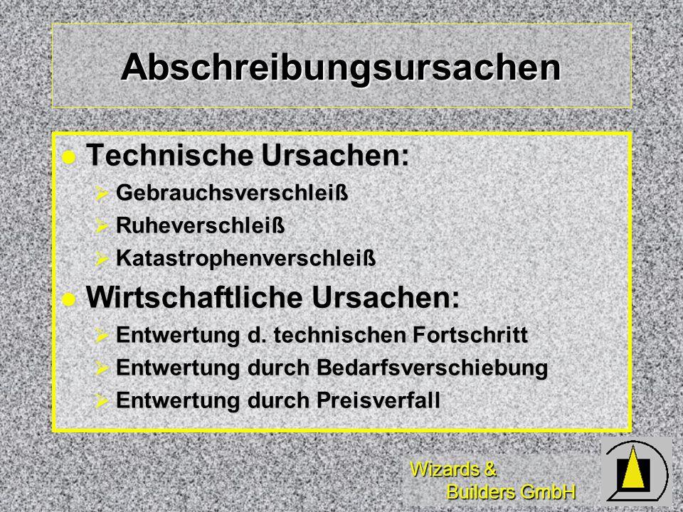 Wizards & Builders GmbH Abschreibungsursachen Technische Ursachen: Technische Ursachen: Gebrauchsverschleiß Gebrauchsverschleiß Ruheverschleiß Ruhever