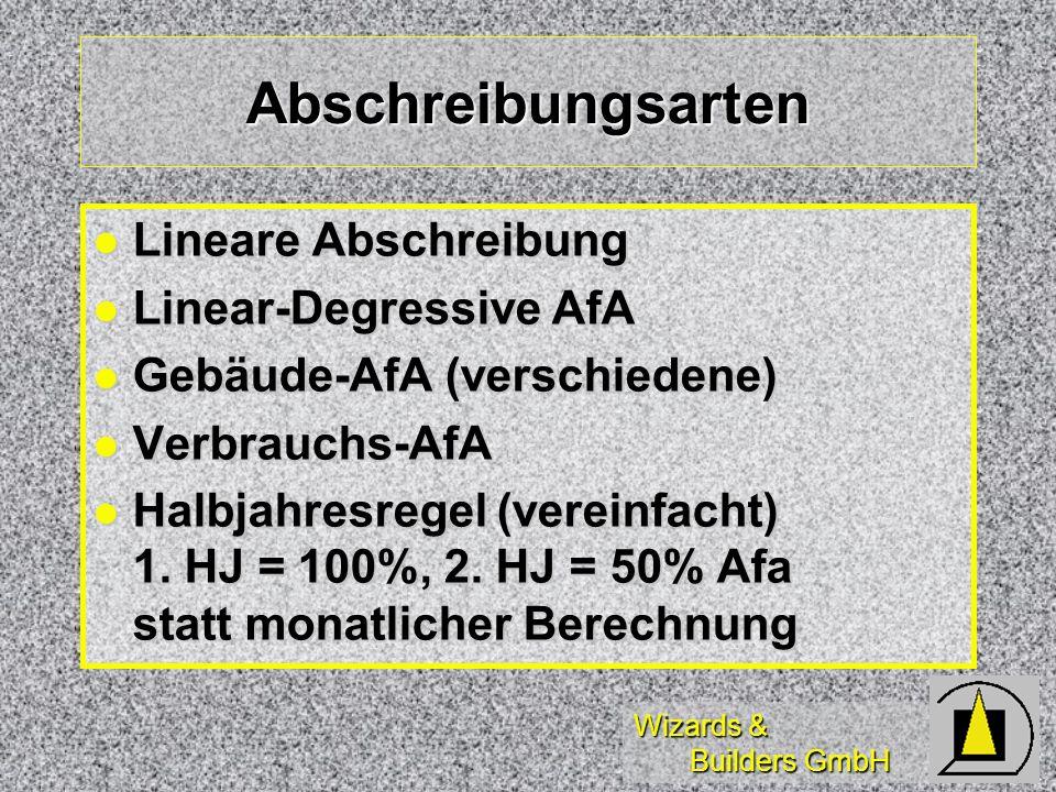 Wizards & Builders GmbH Abschreibungsarten Lineare Abschreibung Lineare Abschreibung Linear-Degressive AfA Linear-Degressive AfA Gebäude-AfA (verschie