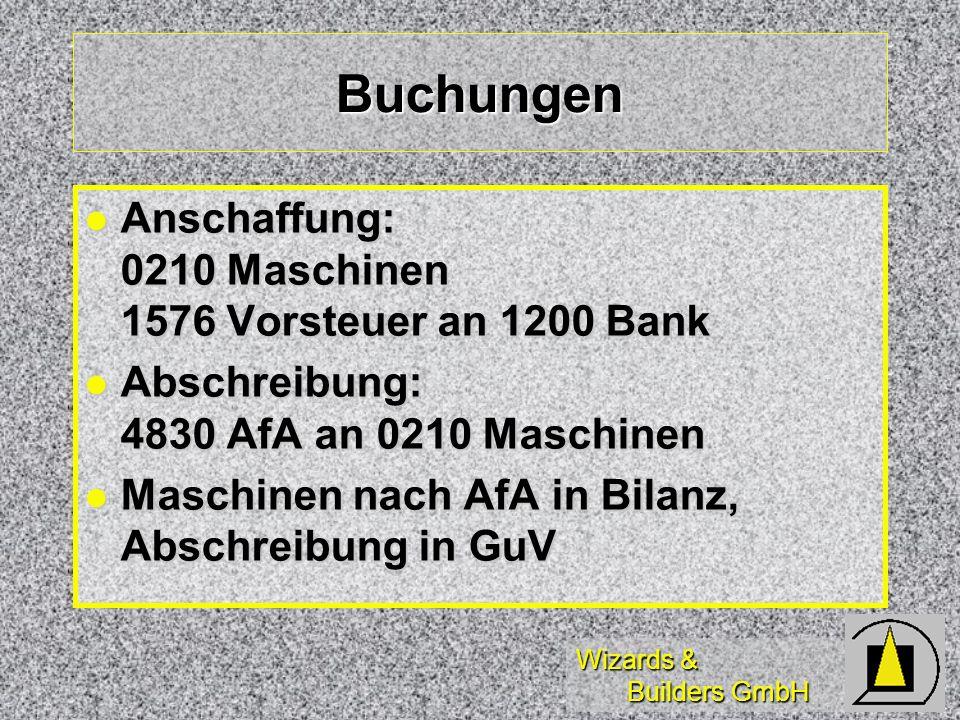 Wizards & Builders GmbH Buchungen Anschaffung: 0210 Maschinen 1576 Vorsteuer an 1200 Bank Anschaffung: 0210 Maschinen 1576 Vorsteuer an 1200 Bank Absc