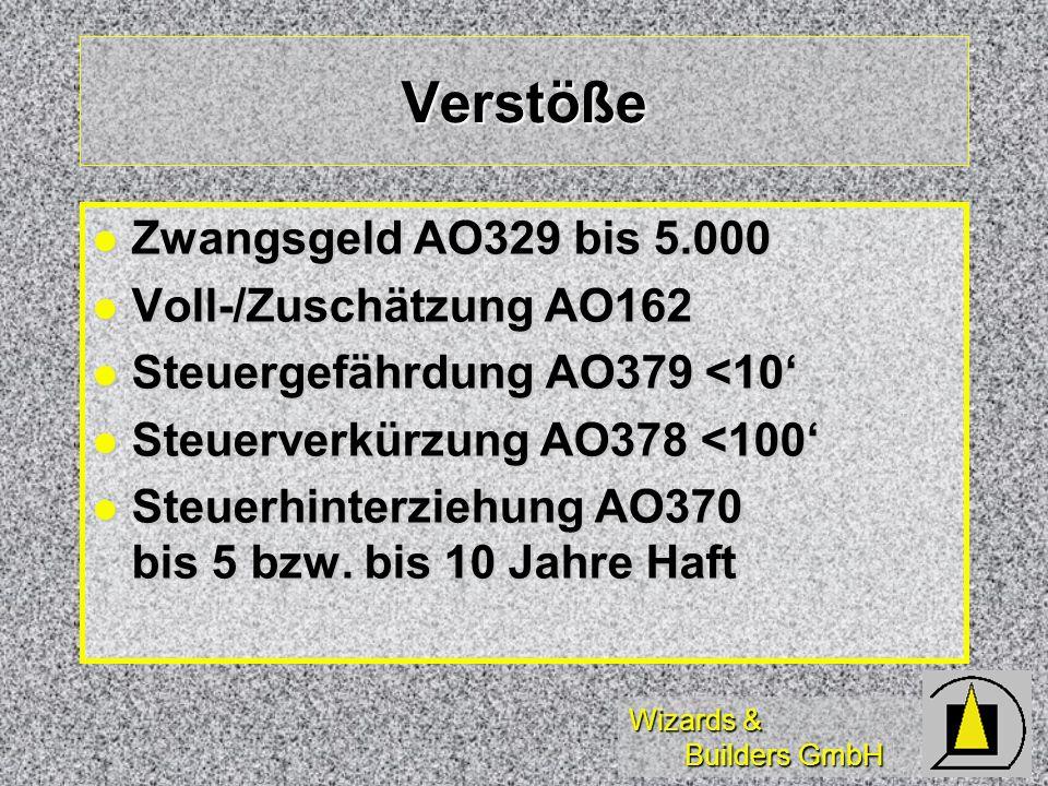 Wizards & Builders GmbH Verstöße Zwangsgeld AO329 bis 5.000 Zwangsgeld AO329 bis 5.000 Voll-/Zuschätzung AO162 Voll-/Zuschätzung AO162 Steuergefährdun
