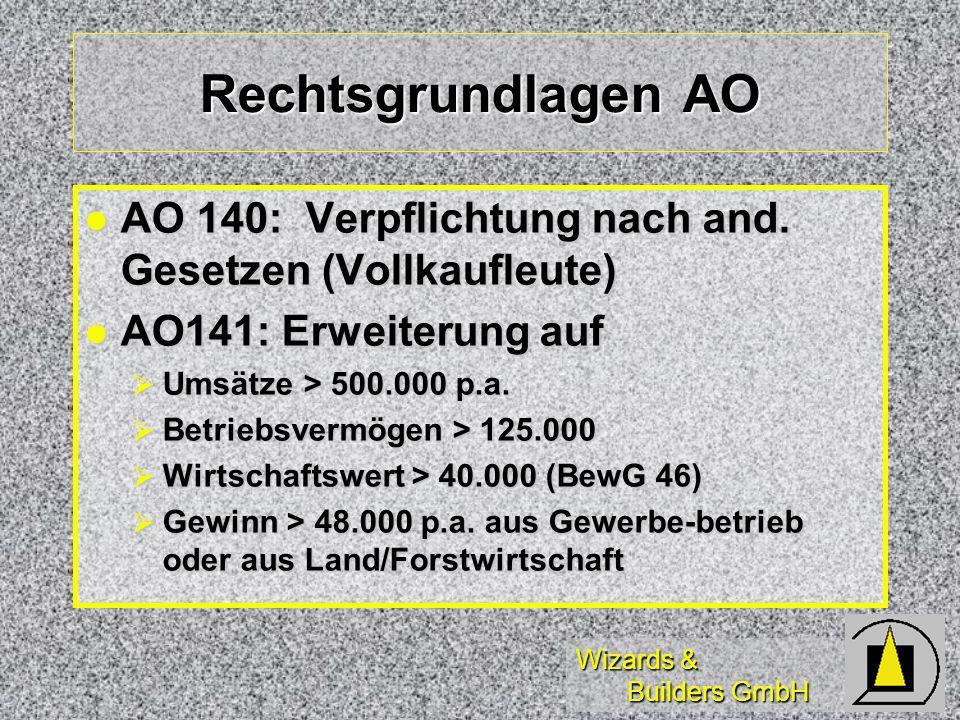 Wizards & Builders GmbH Rechtsgrundlagen ESt Selbständig Tätige (EstG 18) nicht buchführungs- sondern nur aufzeichnungspflichtig Selbständig Tätige (EstG 18) nicht buchführungs- sondern nur aufzeichnungspflichtig Freie Berufe: Freie Berufe: Ärzte Ärzte Rechtsanwälte Rechtsanwälte Steuerberater Steuerberater