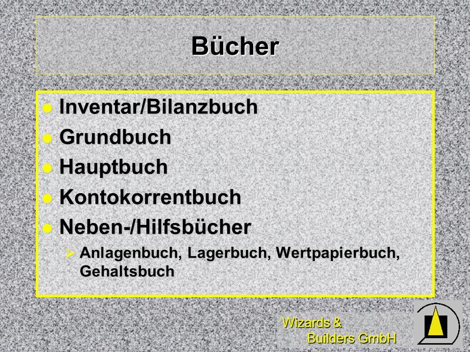 Wizards & Builders GmbH Bücher Inventar/Bilanzbuch Inventar/Bilanzbuch Grundbuch Grundbuch Hauptbuch Hauptbuch Kontokorrentbuch Kontokorrentbuch Neben