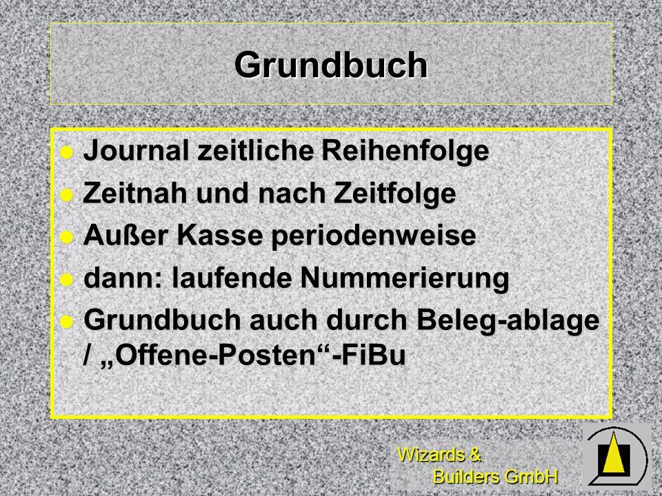 Wizards & Builders GmbH Grundbuch Journal zeitliche Reihenfolge Journal zeitliche Reihenfolge Zeitnah und nach Zeitfolge Zeitnah und nach Zeitfolge Au