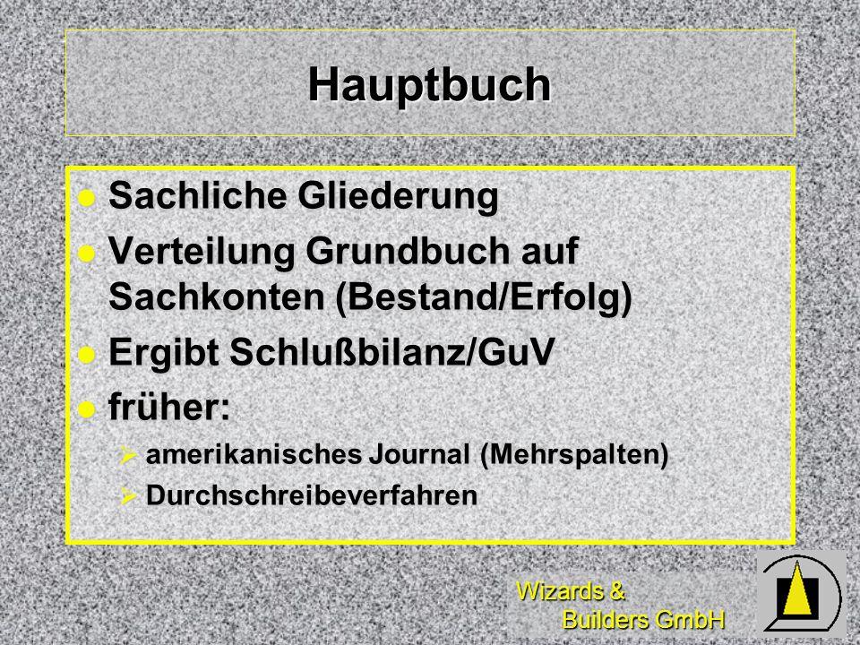 Wizards & Builders GmbH Hauptbuch Sachliche Gliederung Sachliche Gliederung Verteilung Grundbuch auf Sachkonten (Bestand/Erfolg) Verteilung Grundbuch