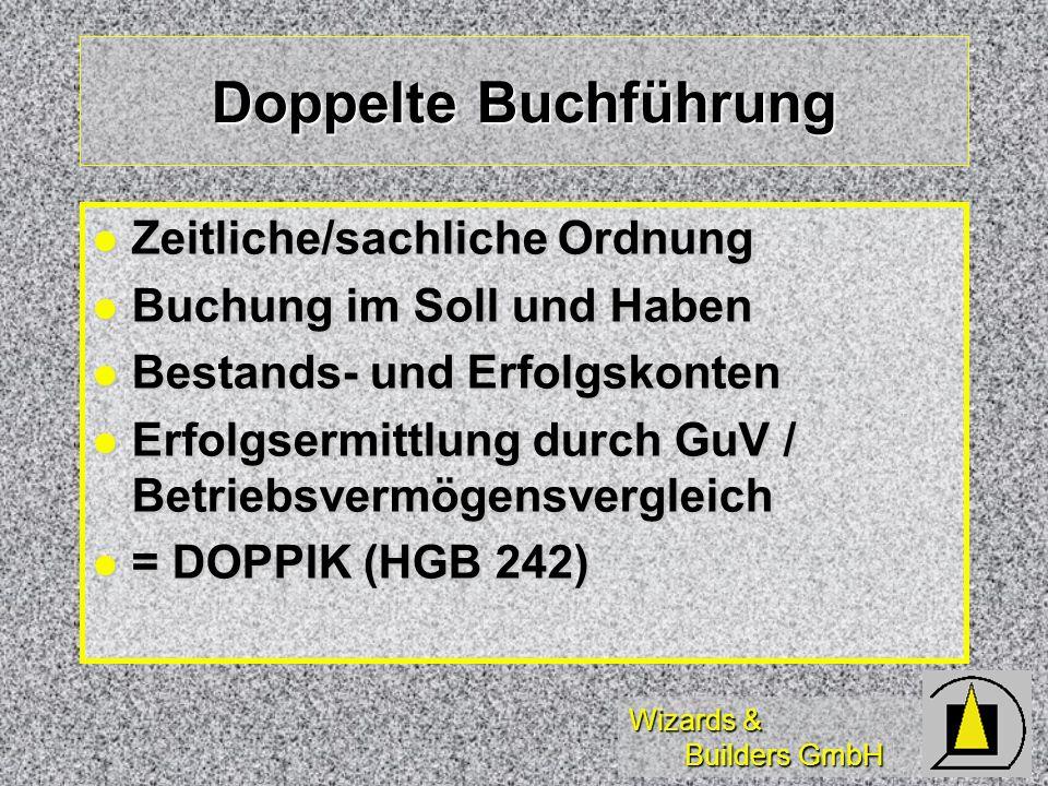 Wizards & Builders GmbH Doppelte Buchführung Zeitliche/sachliche Ordnung Zeitliche/sachliche Ordnung Buchung im Soll und Haben Buchung im Soll und Hab