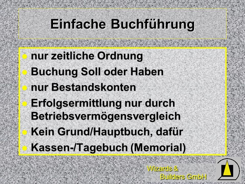 Wizards & Builders GmbH Einfache Buchführung nur zeitliche Ordnung nur zeitliche Ordnung Buchung Soll oder Haben Buchung Soll oder Haben nur Bestandsk