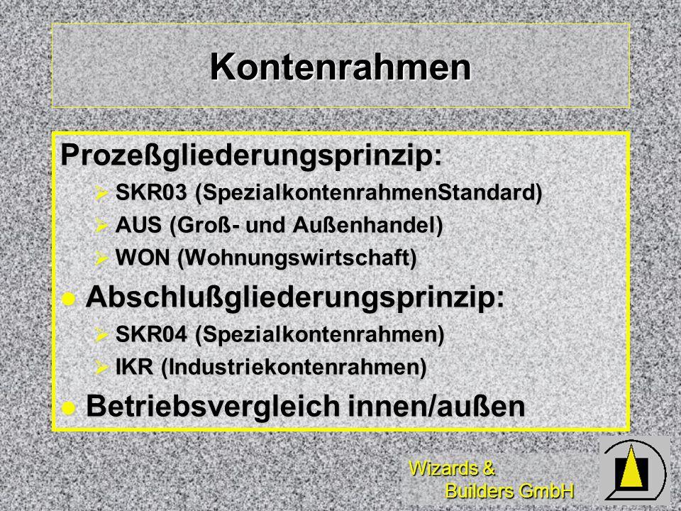 Wizards & Builders GmbH Kontenrahmen Prozeßgliederungsprinzip: SKR03 (SpezialkontenrahmenStandard) SKR03 (SpezialkontenrahmenStandard) AUS (Groß- und