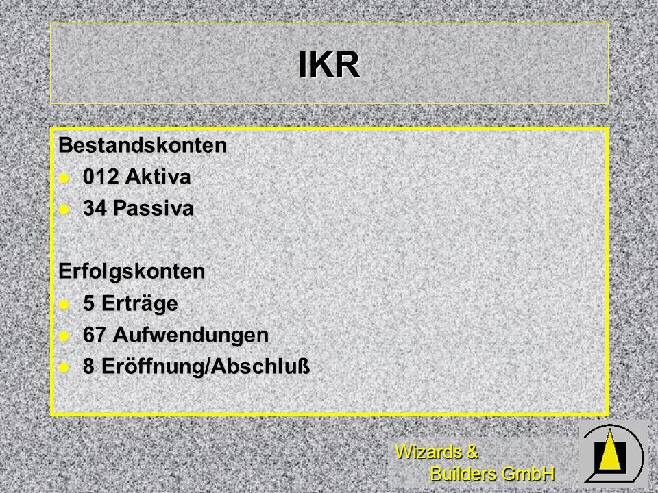 Wizards & Builders GmbH IKR Bestandskonten 012 Aktiva 012 Aktiva 34 Passiva 34 PassivaErfolgskonten 5 Erträge 5 Erträge 67 Aufwendungen 67 Aufwendunge