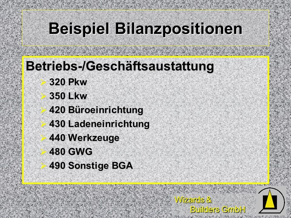Wizards & Builders GmbH Beispiel Bilanzpositionen Betriebs-/Geschäftsaustattung 320 Pkw 320 Pkw 350 Lkw 350 Lkw 420 Büroeinrichtung 420 Büroeinrichtun