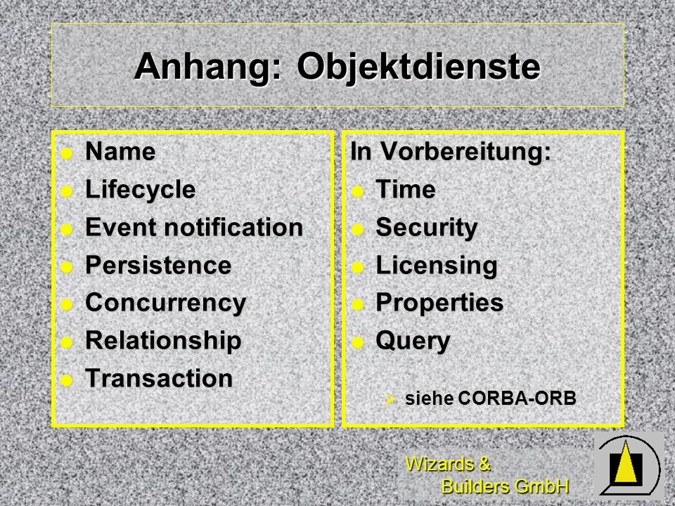 Wizards & Builders GmbH Anhang: Objektdienste Name Name Lifecycle Lifecycle Event notification Event notification Persistence Persistence Concurrency Concurrency Relationship Relationship Transaction Transaction In Vorbereitung: Time Time Security Security Licensing Licensing Properties Properties Query Query siehe CORBA-ORB siehe CORBA-ORB