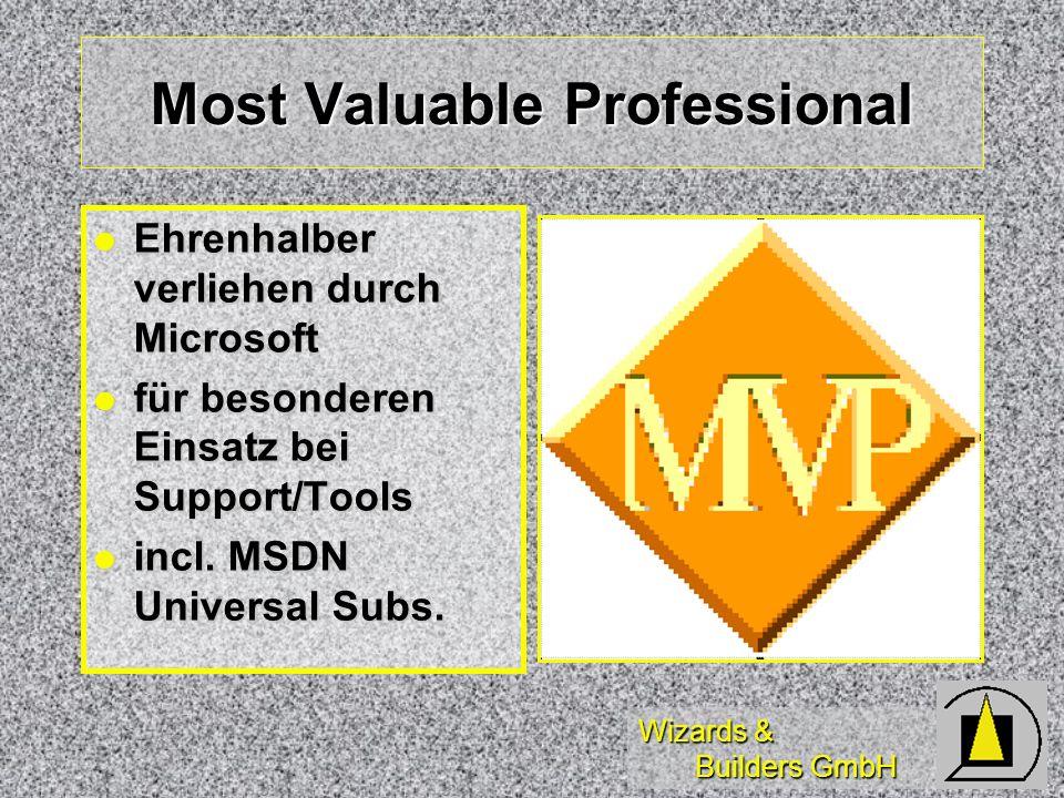 Wizards & Builders GmbH Most Valuable Professional Ehrenhalber verliehen durch Microsoft Ehrenhalber verliehen durch Microsoft für besonderen Einsatz