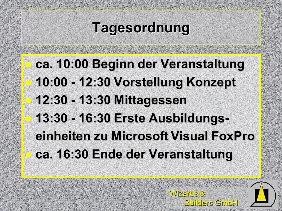 Wizards & Builders GmbH Veranstaltungstermine Durchführung Samstags wegen unterschiedlicher Berufsschulzeiten - Ausgleich durch freie Tage unter der Woche Durchführung Samstags wegen unterschiedlicher Berufsschulzeiten - Ausgleich durch freie Tage unter der Woche Abstimmung der Ferienzeiten - ansonsten fast wöchentlich.