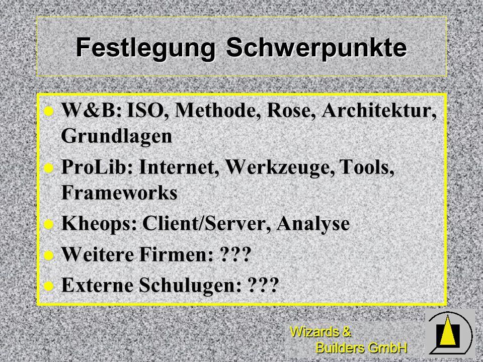 Wizards & Builders GmbH Festlegung Schwerpunkte W&B: ISO, Methode, Rose, Architektur, Grundlagen W&B: ISO, Methode, Rose, Architektur, Grundlagen ProLib: Internet, Werkzeuge, Tools, Frameworks ProLib: Internet, Werkzeuge, Tools, Frameworks Kheops: Client/Server, Analyse Kheops: Client/Server, Analyse Weitere Firmen: ??.