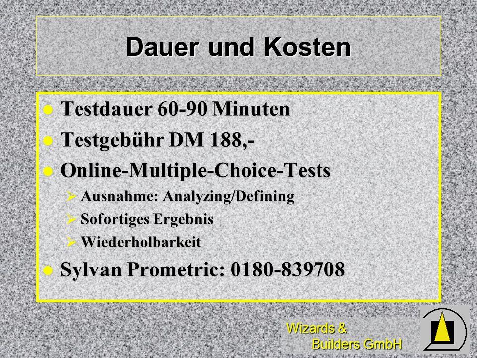 Wizards & Builders GmbH Dauer und Kosten Testdauer 60-90 Minuten Testdauer 60-90 Minuten Testgebühr DM 188,- Testgebühr DM 188,- Online-Multiple-Choice-Tests Online-Multiple-Choice-Tests Ausnahme: Analyzing/Defining Ausnahme: Analyzing/Defining Sofortiges Ergebnis Sofortiges Ergebnis Wiederholbarkeit Wiederholbarkeit Sylvan Prometric: 0180-839708 Sylvan Prometric: 0180-839708