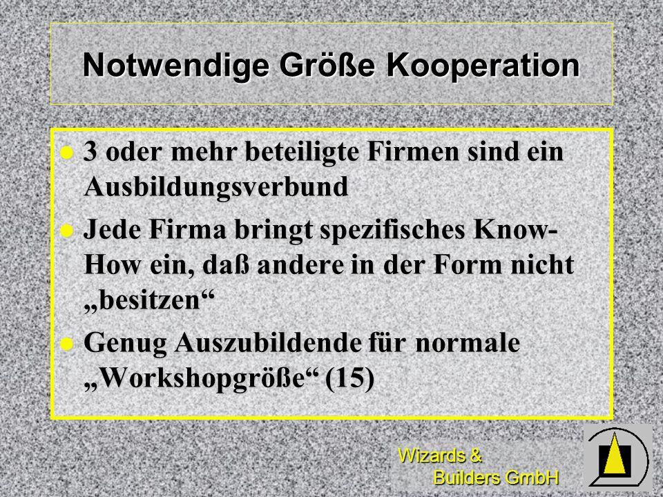 Wizards & Builders GmbH Notwendige Größe Kooperation 3 oder mehr beteiligte Firmen sind ein Ausbildungsverbund 3 oder mehr beteiligte Firmen sind ein Ausbildungsverbund Jede Firma bringt spezifisches Know- How ein, daß andere in der Form nicht besitzen Jede Firma bringt spezifisches Know- How ein, daß andere in der Form nicht besitzen Genug Auszubildende für normale Workshopgröße (15) Genug Auszubildende für normale Workshopgröße (15)