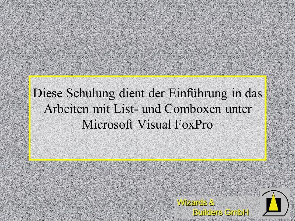 Wizards & Builders GmbH BMPs in List-/ComboBox PICTURE( ListIndex ) = xyz.bmp bewirkt die Anzeige der entsprechenden Bitmap links neben der ersten Spalte einer List-/ComboBox PICTURE( ListIndex ) = xyz.bmp bewirkt die Anzeige der entsprechenden Bitmap links neben der ersten Spalte einer List-/ComboBox bei der ComboBox werden die BMPs nur in der aufgeklappten Liste angezeigt bei der ComboBox werden die BMPs nur in der aufgeklappten Liste angezeigt fehlende BMPs erzeugen keinen Fehler fehlende BMPs erzeugen keinen Fehler GENERAL-Felder können im Widerspruch zur Dokumentation nicht(!) verwendet werden GENERAL-Felder können im Widerspruch zur Dokumentation nicht(!) verwendet werden