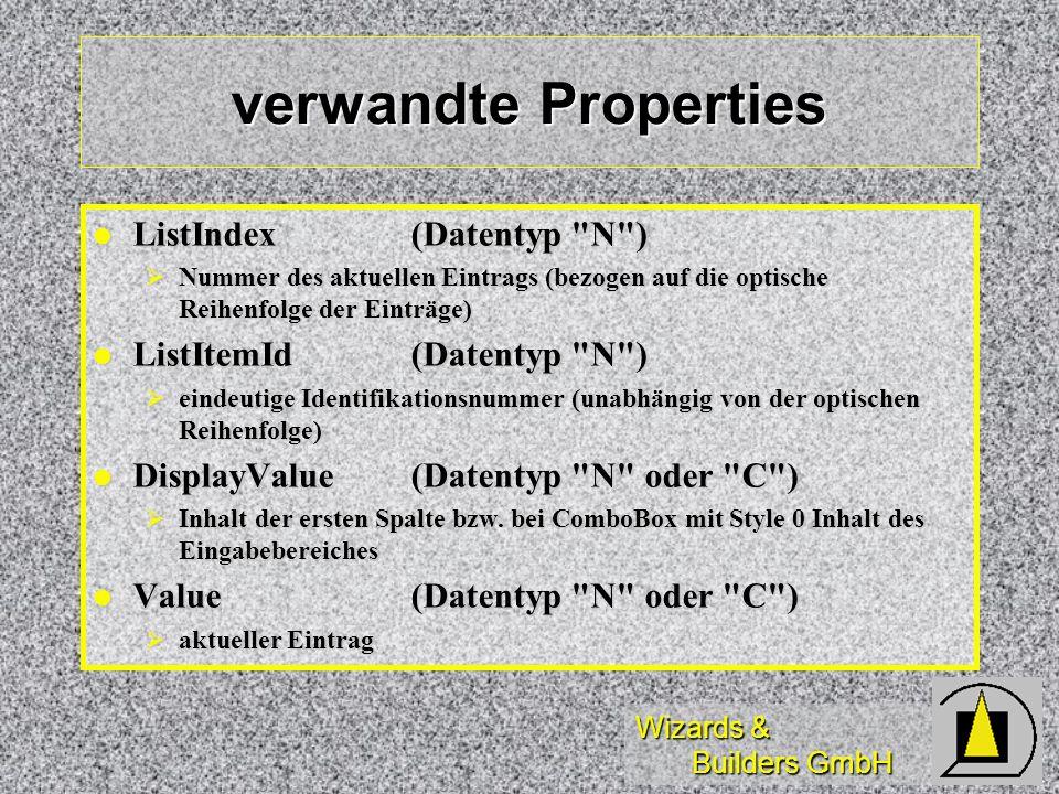 Wizards & Builders GmbH verwandte Properties ListIndex (Datentyp