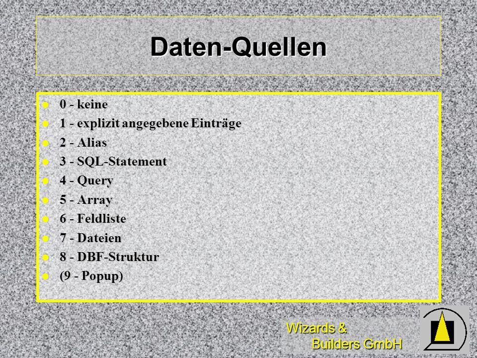 Wizards & Builders GmbH Daten-Quellen 0 - keine 0 - keine 1 - explizit angegebene Einträge 1 - explizit angegebene Einträge 2 - Alias 2 - Alias 3 - SQ